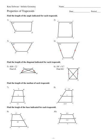 Printables Trapezoid Worksheet 6 properties of trapezoids kuta software trapezoid hw pdf