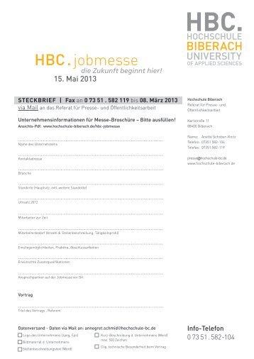 HBC . jobmesse - Hochschule Biberach