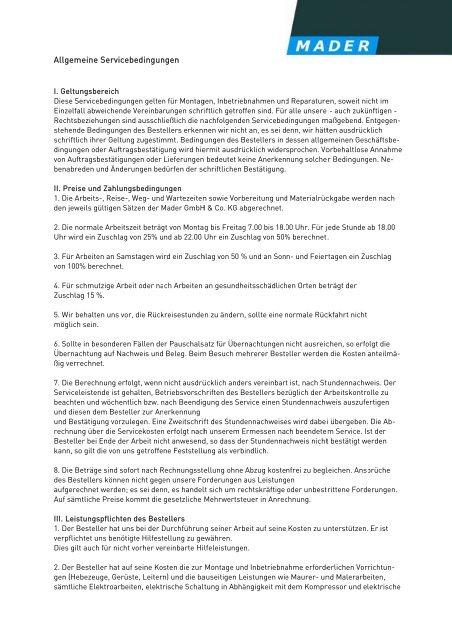 Allgemeine Servicebedingungen als PDF - Mader