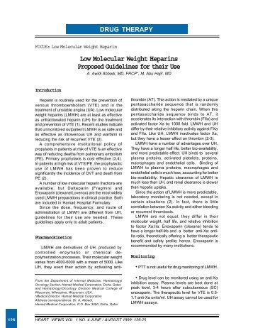 Low Molecular Weight Heparins Proposed Guidelines for their Use