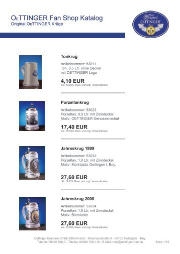 OETTINGER Fan Shop Katalog - OeTTINGER Brauerei GmbH