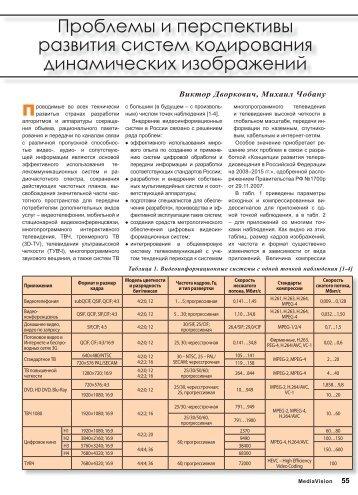 Проблемы и перспективы развития систем ... - MediaVision Mag