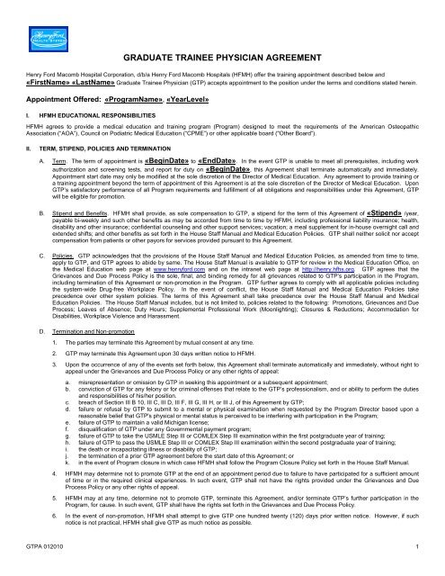 Graduate Trainee Physician Agreement Henry Ford Hospital