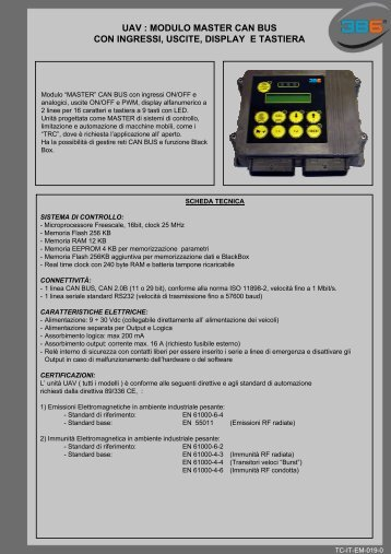 uav : modulo master can bus con ingressi, uscite, display e ... - 3b6.it