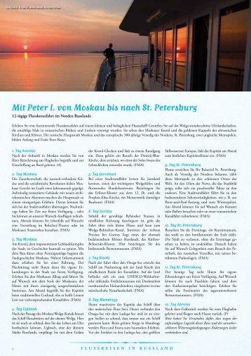 Mit Peter I. von Moskau bis nach St. Petersburg