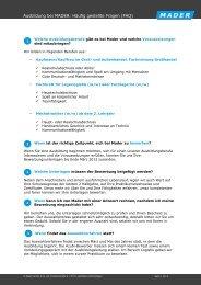 Ausbildung bei MADER: Häufig gestellte Fragen (FAQ)