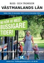 Textsidor från tidtabellen - Västmanlands Lokaltrafik