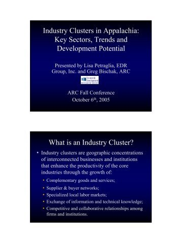 Industry Clusters in Appalachia: Key Sectors, Trends and ...