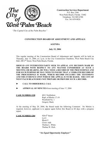An Equal Opportunity Employer - City of West Palm Beach