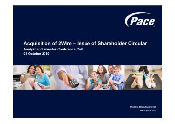 Pace Acquisition of 2Wire – Issue of Shareholder Circular