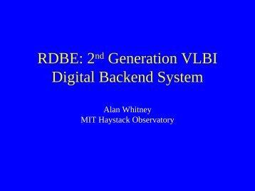 The Haystack 2nd generation digital‐backend system - CIRA