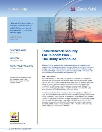Total Network Security For Telecom Plus − The Utility Warehouse
