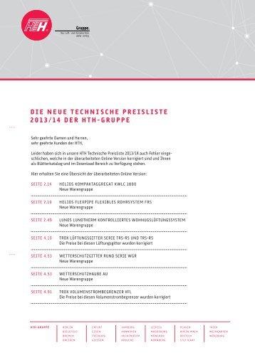 die neue technische preisliste 2013/14 der hth-gruppe - Felderer