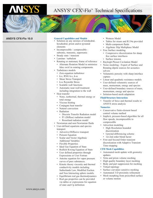 ANSYS CFX-Flo Technical Specifications