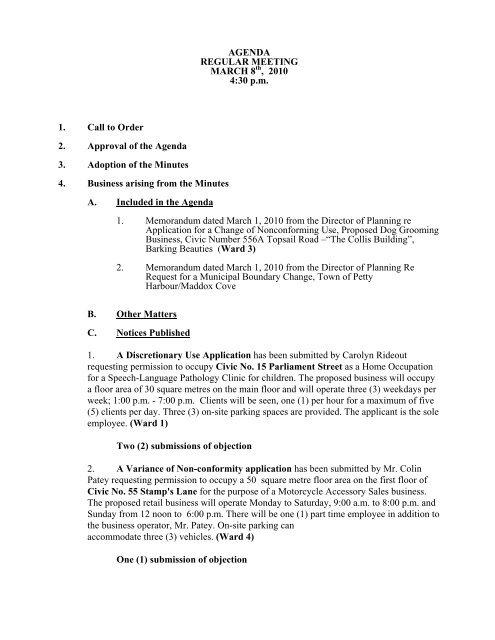 Council Agenda Monday, March 8, 2010 - City of St. John's