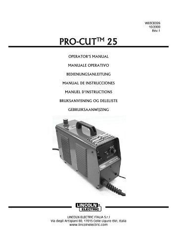 PRO-CUTTM 25 - Lincoln Electric - documentations