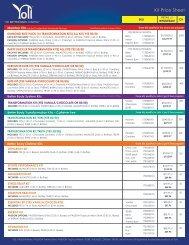 Kit Price Sheet - Yoli