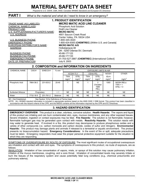 Material Safety Data Sheet (PDF 612k) 05-06 - Micro Matic USA