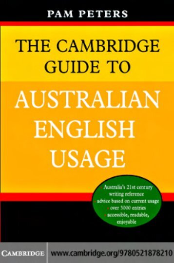 The Cambridge Guide to Australian English Usage - Noel's ESL ...