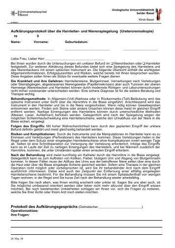Harnleiterspiegelung (diagnostisch) - Urologische Klinik Basel