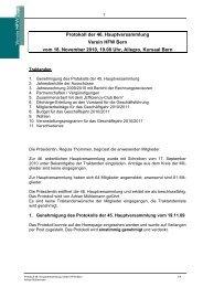 Protokoll der 46. Hauptversammlung Verein HFW Bern vom 18 ...