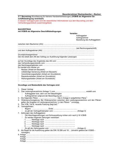 Kurzfassung Bauvertrag Vob Selfmeister