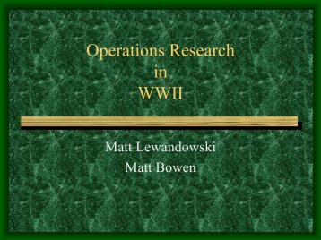 Operations Research in WWII