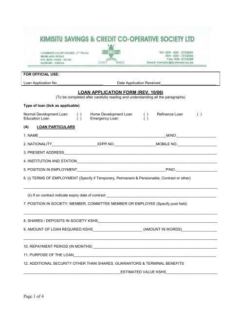 Page 1 of 4 LOAN APPLICATION FORM (REV  10/06) - Kimisitu Sacco