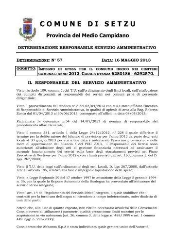 57 del 16.05.2013 _ Abbanoa cimiteri_ - Comune di Setzu