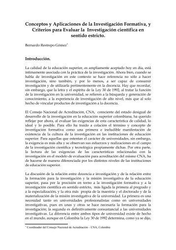 Conceptos y Aplicaciones de la Investigación Formativa, y Criterios ...