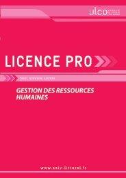 Licence pro Gestion des Ressources Humaines - Université du ...