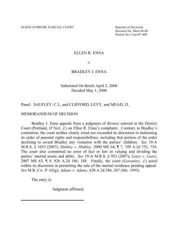 ELLEN R. ENNA v. BRADLEY J. ENNA Submitted On Briefs April 2 ...