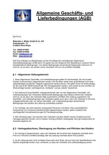 Allgemeine Geschäfts- und Lieferbedingungen (AGB) - Matschke u ...