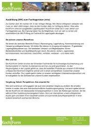 Ausbildung (IHK) zum Fachlageristen (m/w) - KochForm