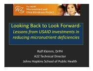 Looking Back to Look Forward- - A2Z: The USAID Micronutrient and ...