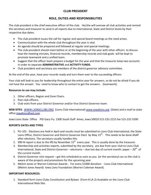club president role, duties and responsibilities - Lions