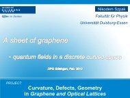 A sheet of graphene - quantum fields in a discrete curved space