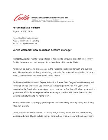 Carlile welcomes new Fairbanks account manager
