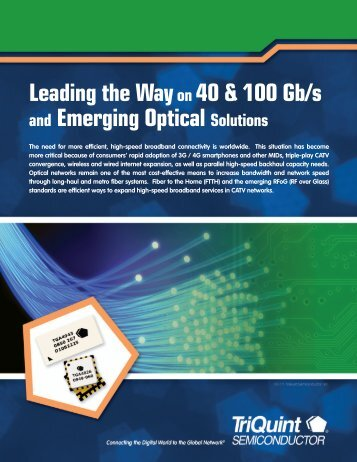 Leading the Wayon 40 & 100 Gb/s and Emerging Optical ... - RfMW