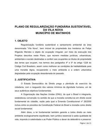 plano de regularização fundiária sustentável da vila nova município ...