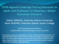 CEFR-aligned Cambridge Testing Outcomes in Japan and ... - ALTE