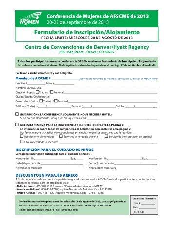 Formulario de Inscripción/Alojamiento - AFSCME