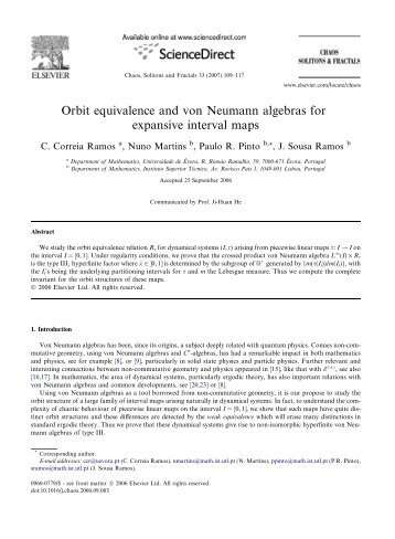 Orbit equivalence and von Neumann algebras for ... - CIMA-UE