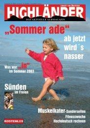 ab jetzt wird´s nasser Sünden - Highländer Albmagazin