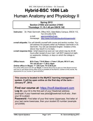 human anatomy and physiology 1 lab syllabus, summer 2010 ...