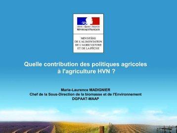 Quelle contribution des politiques agricoles à l'agriculture ... - EFNCP
