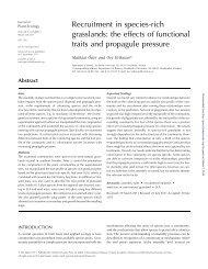 Recruitment in species-rich grasslands - Journal of Plant Ecology