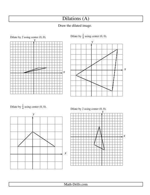 geometry worksheet dilations using center 0 0. Black Bedroom Furniture Sets. Home Design Ideas