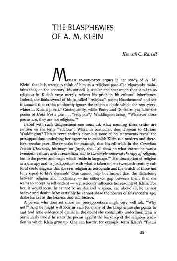 THE BLASPHEMIES OF A. M. KLEIN