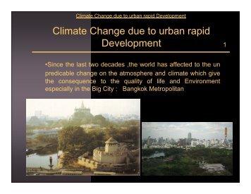 Climate Change due to urban rapid Development